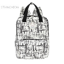 Women Backpack Cotton Fabric Zipper Embossing Fashion Shoulder Bag Printing Large Capacity Travel Backpack Computer Rucksack
