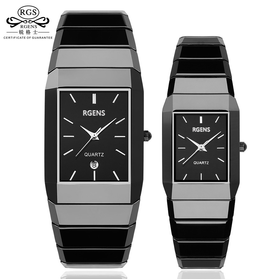 business women mens wristwatches 100% Ceramic black white square quartz woman man watches waterproof calendar clocks RGENS brand