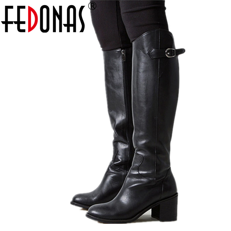 FEDONAS High Quality Brand Women Winter Snow Boots Women Genuine Leather Knee Boots High Heeled Motorcycle Boots Shoes Woman 2017 free genuine leather motorcycle boots biker shoes women pointed snow boots brand shoe famous designer woman flats