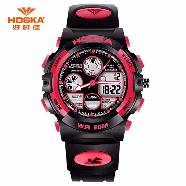 HOSKA Children Watches Small Size Luxury Sports Digital Quartz Electronic Wristwatch Waterproof Boy Girl Leisure Student Watch