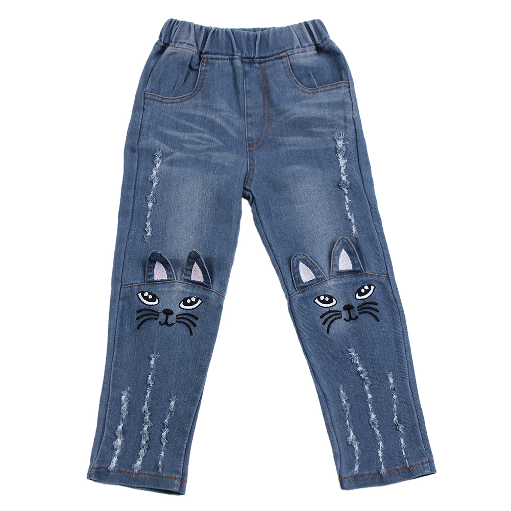 Spring Summer Girls Cute Cat Jeans for Girs Kids Embroidery Denim Long Pants Kids Fashion Jean ...