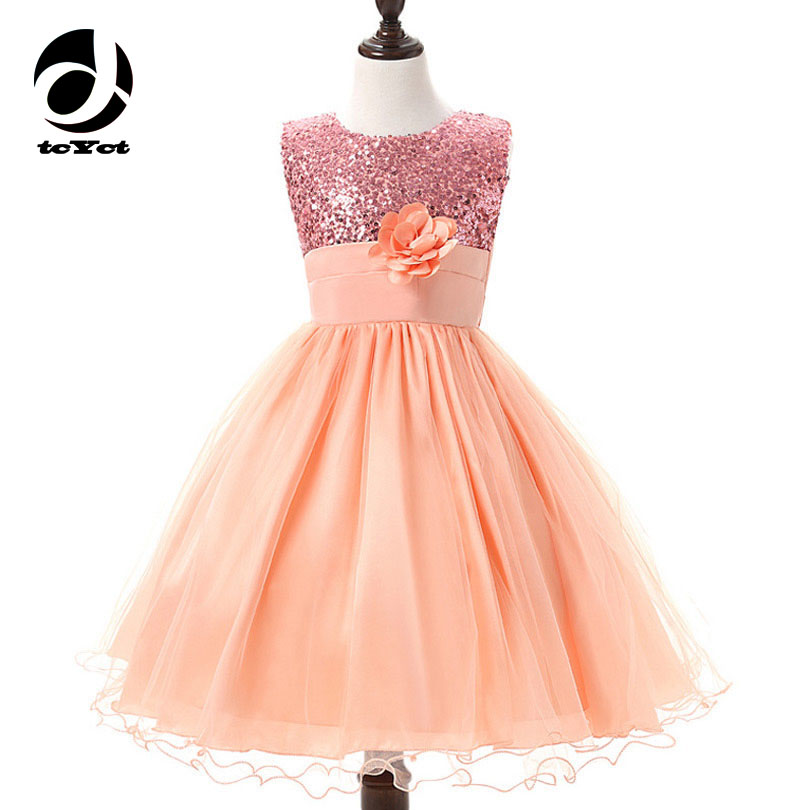 2017 New Flower Party Dresses For Girls 3-10 12 Girls Sequin Dress Wedding Gowns For Teenager Vestidos Kids Clothes Baby Costume new flower girls dress diamond sequin