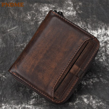 PNDME designer high quality genuine leather mens womens wallet luxury simple cowhide short zipper credit card small coin purse