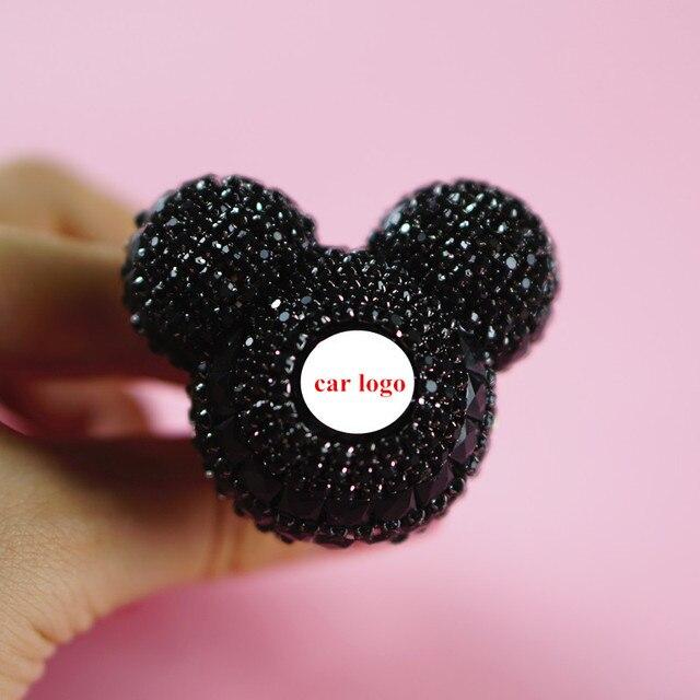 MR TEA Custom Car Logo Rhinestone Car Air Freshener Black Crystal Car  Perfume Fragrance Diffuser Air Vent Clip Decoration