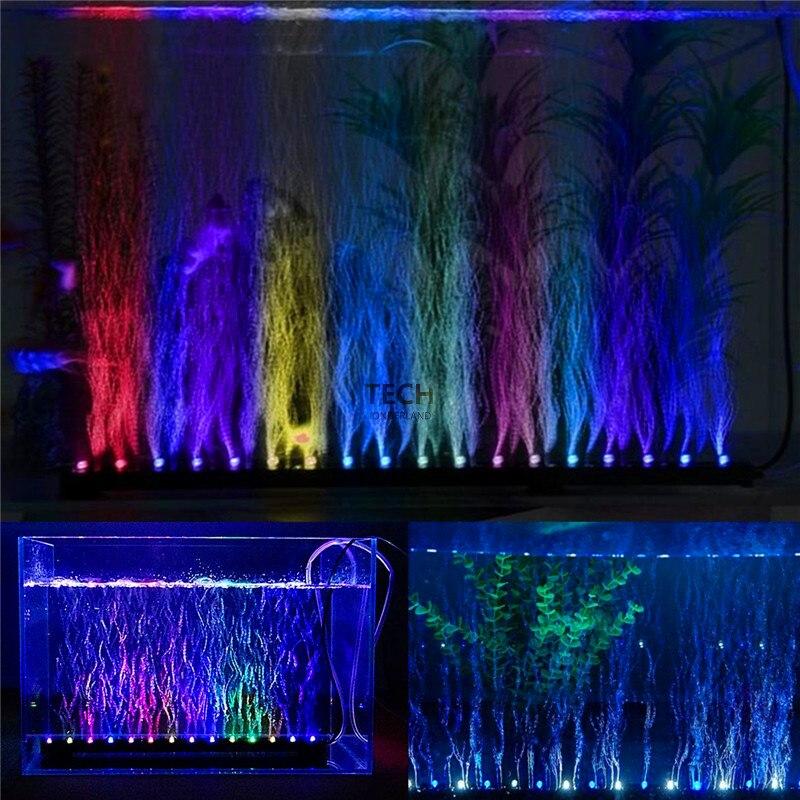 Aquarium Fish Tank Underwater Submersible Air Bubble Colour Changing LED Light AC220-240V 50-60Hz