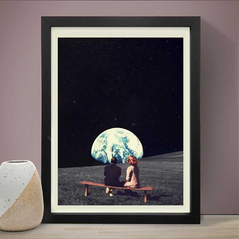 Biz yaşamak için Kullanılan Var Toprak Tuval Sanat Baskı ve Poster, gerçeküstücülük Galaxy Uzay Tuval Boyama Duvar Resmi Bilimkurgu sanat dekoru