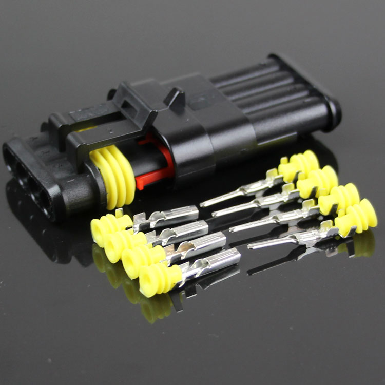 5 set kit 4P car harness connector waterproof connector HX plug socket male and female connector 4 core hole butt plug connector rm15wtpza 4p 71