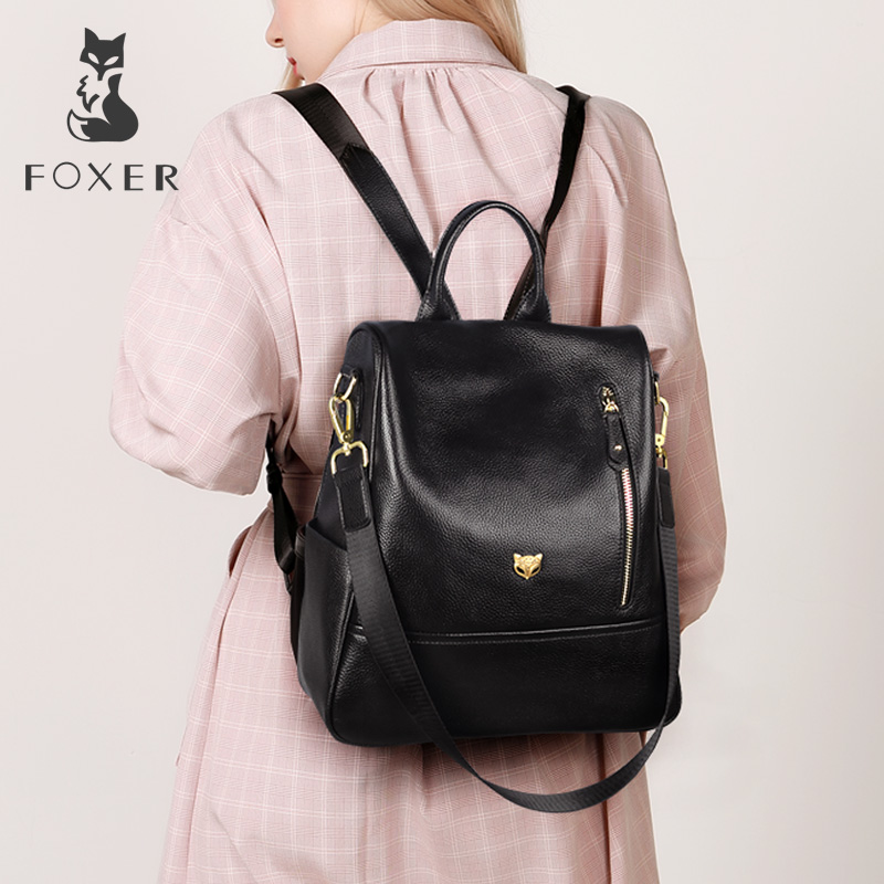 FOXER Brand Student Softback Backpack Women Genuine Leather Solid Travel Bags Female Cow Leather Fashoin Backpack