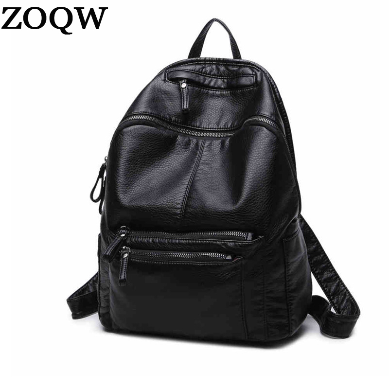 Women Backpacks 2018 European and American Travel bagpack Soft PU Leather  Backpacks For Girls School bags f192abe364