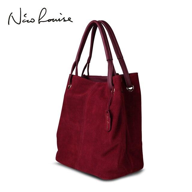 Nico Louise Mulheres Sacola de Couro Real Suede Split, novo Lazer Grandes Top-handle Bags Lady Casual Bolsa Ombro Crossbody