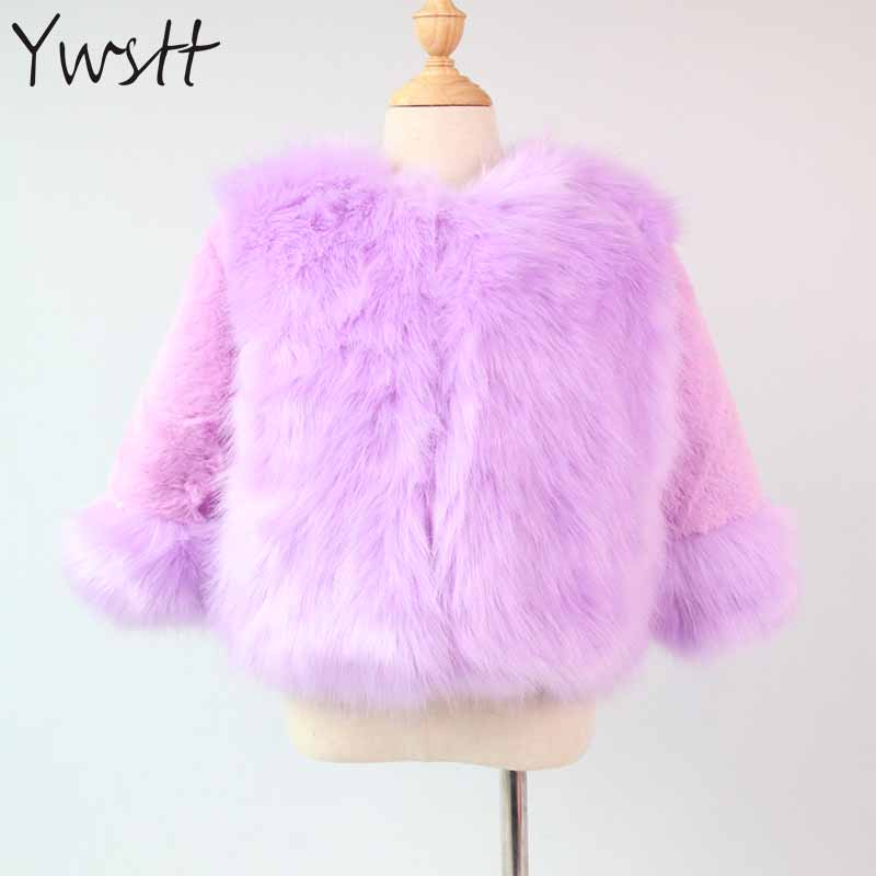 Ywstt Girls Winter Coat Faux Fox Fur Coat 2017 New Children Artificial Fur Outerwear Jacket Warm Child Thickening Clothing