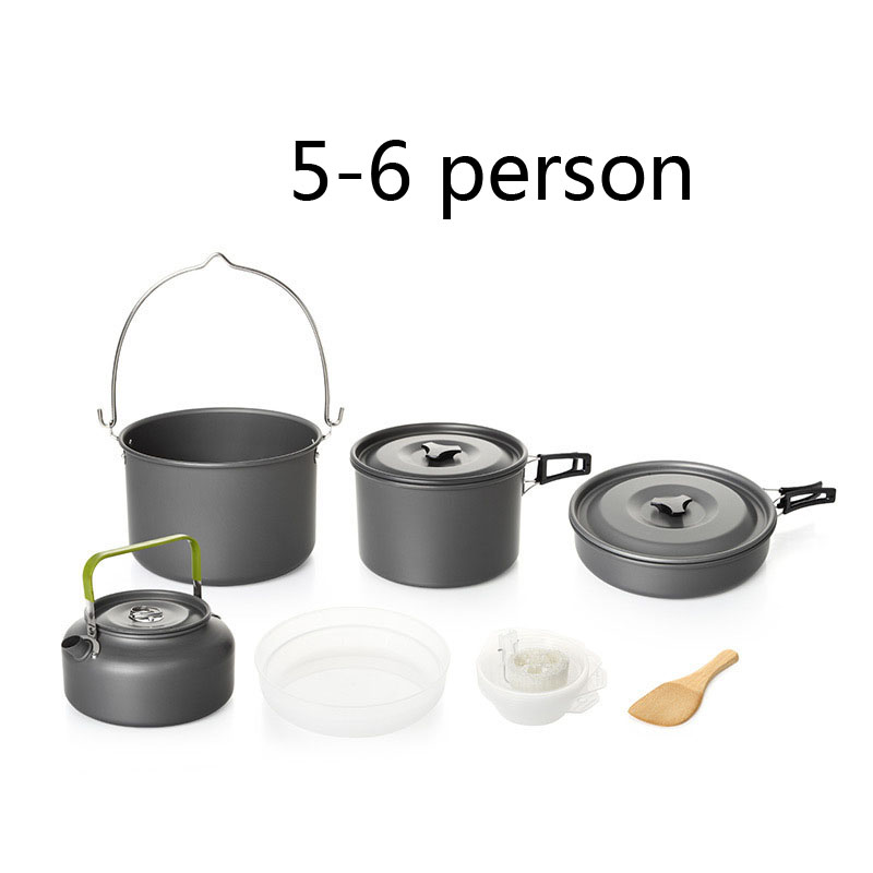 5-6 People Outdoor camping Pot 14pcs High Quality Portable With A Teapot Hiking / Traveling Camping Cookware Set alocs cw c19t 2 3 people outdoor camping cook set 5 pieces with bag 2 2l pot 1 4l teapot 7 5 inches frying pan