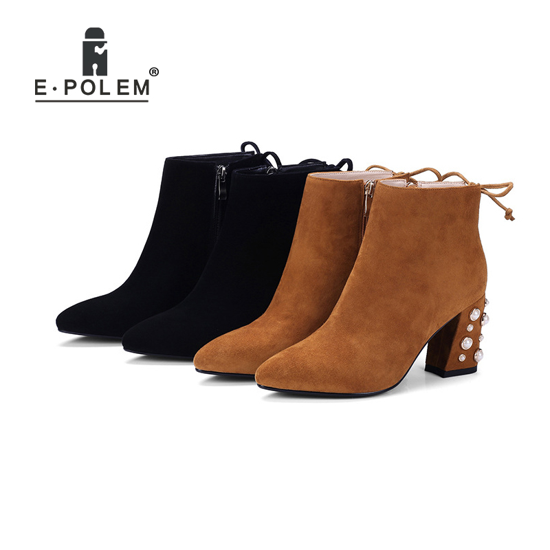 Stylish Women Martin Boots Winter Velvet Lining Chelsea Boots Rock Thick Heel Pointed Female Genuine Leather Zipper Ankle Boots