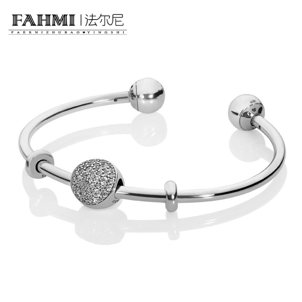 FAHMI 100% 925 Sterling Silver New 1:1 PAVE OPEN BANGLE GIFT SET Original Womens Trend Personalized Jewelry Winter RecommendedFAHMI 100% 925 Sterling Silver New 1:1 PAVE OPEN BANGLE GIFT SET Original Womens Trend Personalized Jewelry Winter Recommended