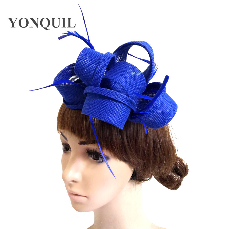 Royal blue Bridal Fascinator Hair clip Wedding Headpiece Veil Feather Hairpin yellow red Red Purple Black White Beige Navy blue headpiece