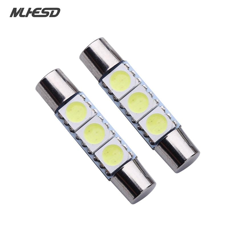 10X White Festoon 28mm-31mm Fuse 5050 3SMD SunVisor Vanity Mirror LED Lights