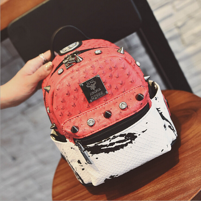 Fashion Women Backpack Rivet PU Leather Bags Small Shoulder School Bags For Girls High Quality Travel Bagpack Backpacks fashion women leather backpacks rivet schoolbags for teenage girls female bagpack lady small travel backpack mochila black bags