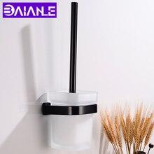 Toilet Brush Holder Creative Aluminum Black Toilet Brush Holder Set Glass Cup Wall Mounted Modern Bathroom Cleaning Brush Holder