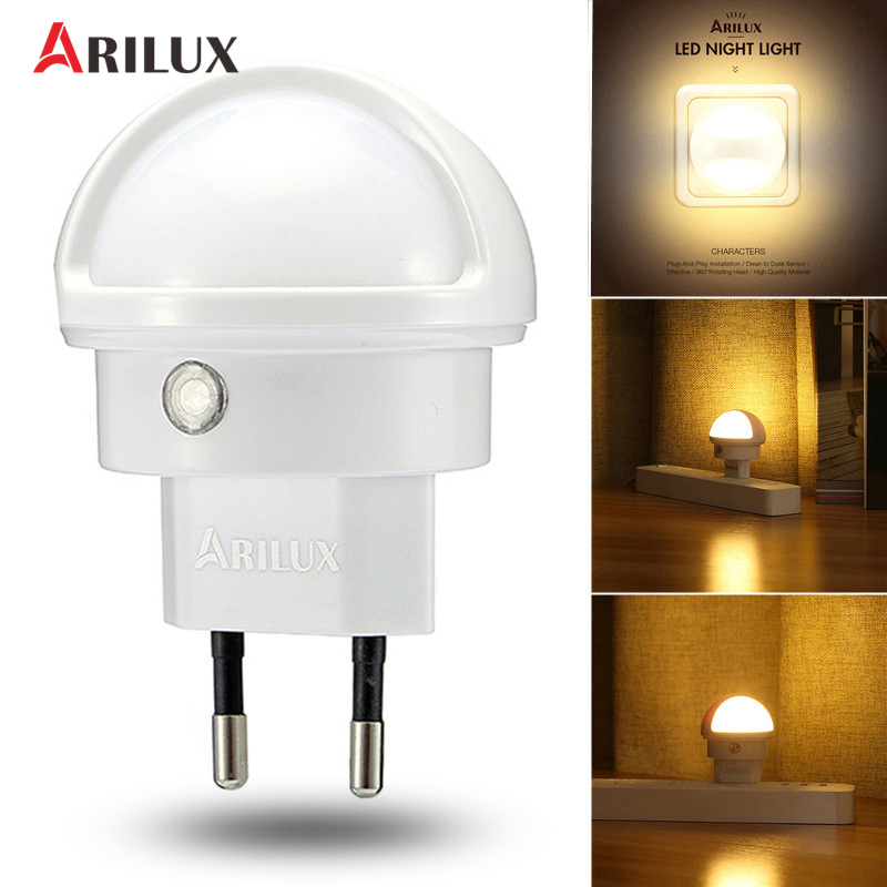 ARILUX LED Night Light Light Sensor Type 360 Angle Rotated Warm White LED Night Light Lamp EU Plug Indoor Lighting