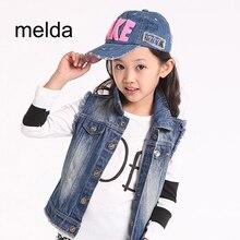 melda Boys Girls Denim Vest Kids Cowboy Vest Waistcoat Sleeveless Jean Jackets For Kids Children Outerwear Child Denim Jacket