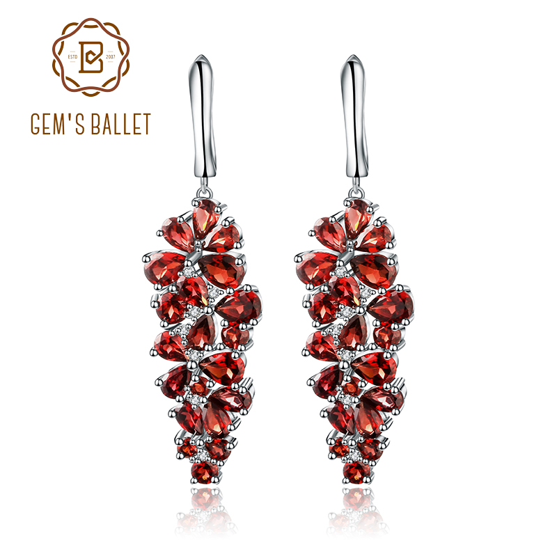 Gem s Ballet 4 31Ct Natural Red Garnet Gemstone Drop Earrings Solid 925 Sterling Silver Fine