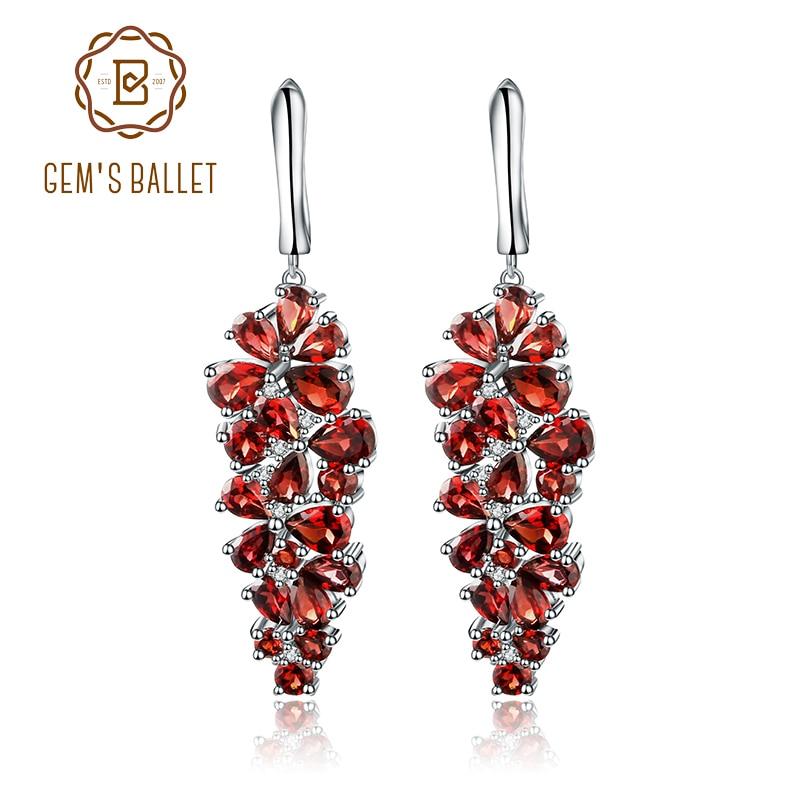 Takı ve Aksesuarları'ten Küpeler'de Mücevher Bale 4.31Ct Doğal Kırmızı Garnet Taş Damla Küpe Katı 925 Ayar Gümüş Güzel Takı Kadınlar Için Düğün'da  Grup 1