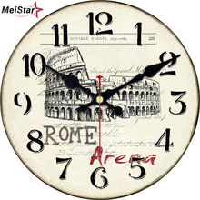 MEISTAR Vintage Scenery Clocks Silent Antique Tower Design Watches For Living Room Kitchen Home Decor Art Large Wall