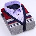 Invierno nuevos hombres espesar térmica camisa patchwork espesar camisas moda casual delgado de mediana edad blusa plus size men clothing