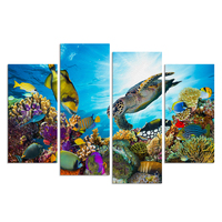Canvas Art Underwater Sea Fish Coral Reefs Canvas Print Turtle Picture Creative Room Decor Wall Poster