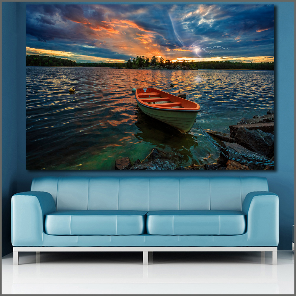 Canvas Print Pictures Boats Scenery Wall-Art Rivers No-Frame Sweden Sunrises Bedroom