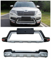 For SKODA KODIAQ 2017 2018 2019 Front+Rear Bumper Diffuser Guard skid plate High Quality Car Modification Accessorie