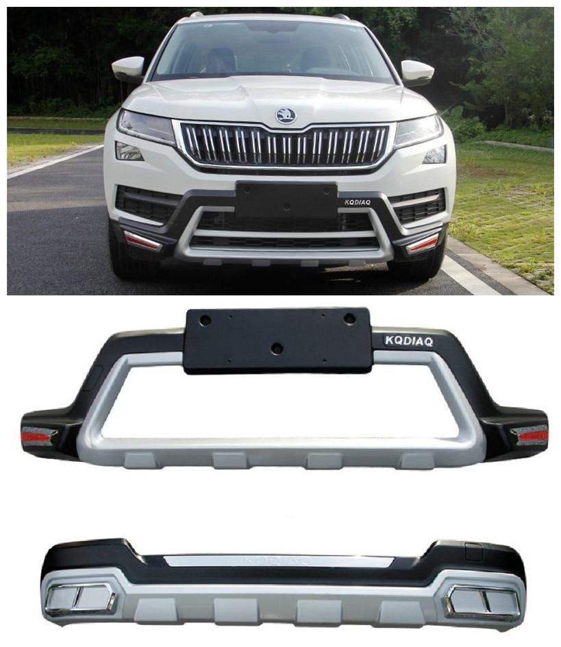 For SKODA KODIAQ 2017 2018 2019 Front+Rear Bumper Diffuser Guard skid plate High Quality Car Modification Accessorie