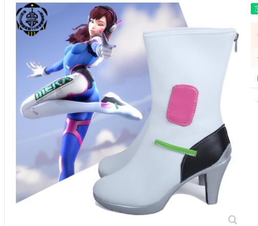 New Game OW <font><b>DVA</b></font> D.VA Cosplay Custume Boots Flat Heel Custom <font><b>Shoes</b></font> Halloween Costume free shipping image