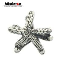 Mistletoe Genuine 925 Sterling Silver Animal Sea Star Starfish Charm Bead Fits European Brand Troll 3.0mm Bracelet Jewelry