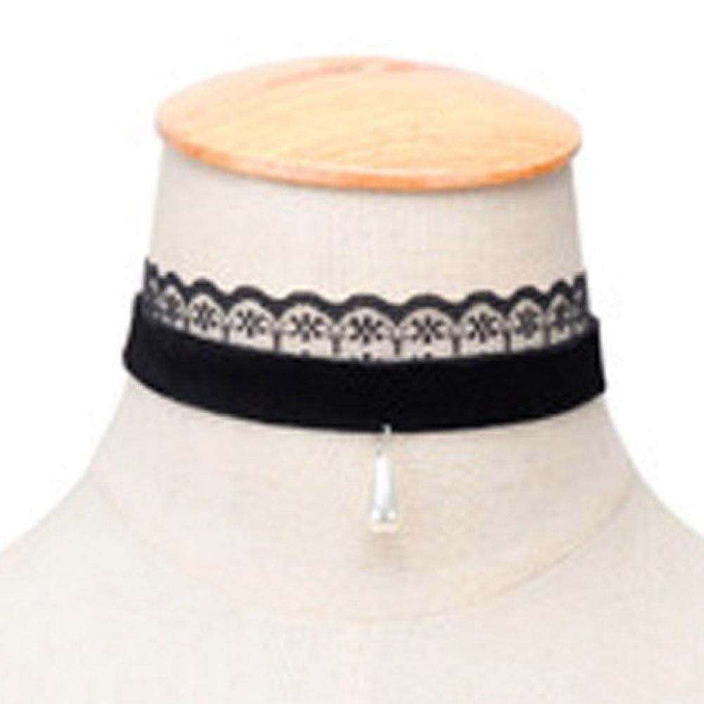 New Hot Sales How Elegant Plain Lace Velvet Necklace Women Imitation Pearl Necklaces & Pendants Gothic Handmade Retro Jewelry