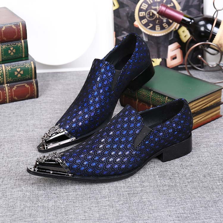 CH.KWOK Blue Silver Men Loafers Genuine Leather Casual Shoes Fall Mens Formal Shoes Oxford Shoes For Men Sequined Creepers Shoes hot sale mens italian style flat shoes genuine leather handmade men casual flats top quality oxford shoes men leather shoes