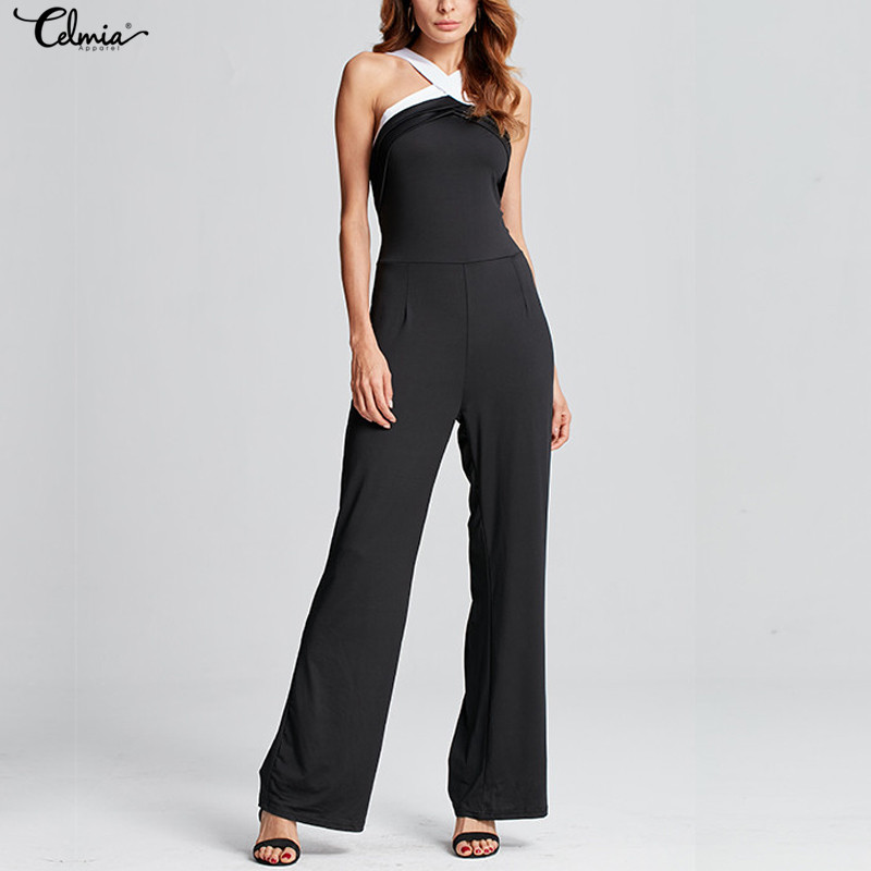 Celmia Women Jumpsuits Sexy Halter Neck Off Shoulder Rompers 2018 Summer Sleeveless Club Party Casual Long Playsuits Trousers