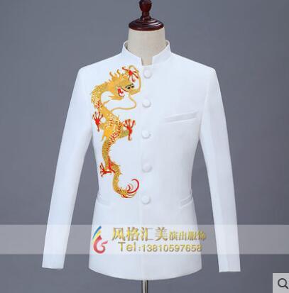 Dragon blazer men formal dress latest coat pant designs marriage suit men Chinese tunic suit wedding suits for men's white