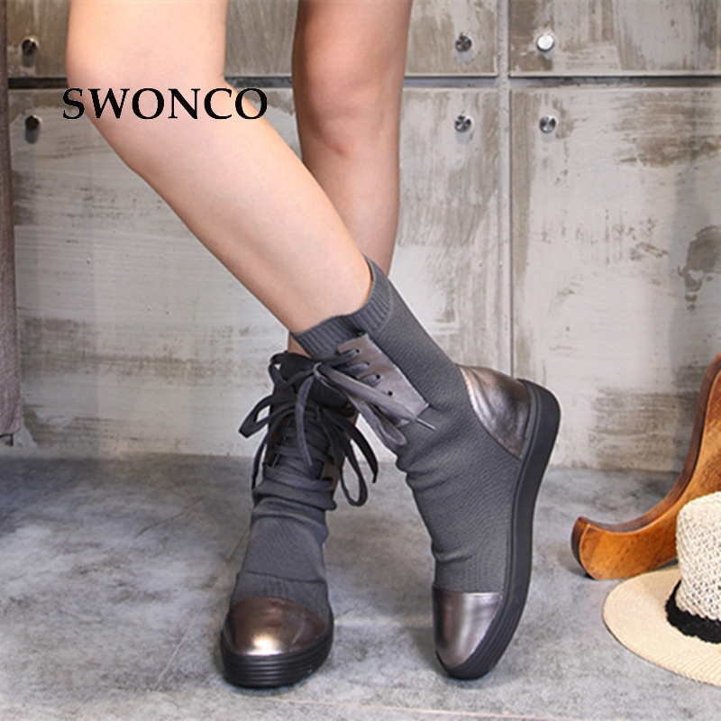 SWONCO Women's Boots 2018 Autumn Winter Genuine Leather Knitting Wool Ladies Shoes Women Boots Winter Mid Calf Boot Woman Shoes
