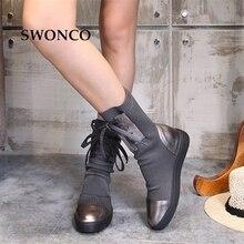 SWONCO buty damskie 2018 jesień zima prawdziwej skóry dziania wełny buty damskie buty zimowe buty do połowy łydki buty kobieta