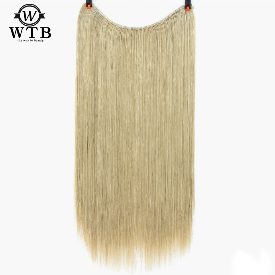 Synthetic Extensions Strict Wtb Synthetic Hair Women Invisible Fish Wire Extensions Dark Brown Light Brown Red Long High Temperature Fiber