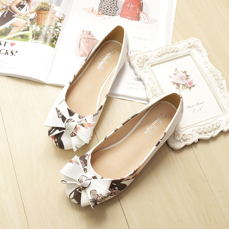 2017 Spring Autumn Sweet Bow Flower Women Wedding Shoes Flat  Ladies Shoes Shallow Mouth Round Toe Dipper Shoes Plus Size new 2017 spring summer women shoes pointed toe high quality brand fashion womens flats ladies plus size 41 sweet flock t179