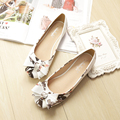 2017 Spring Autumn Sweet Bow Flower Women Wedding Shoes Flat  Ladies Shoes Shallow Mouth Round Toe Dipper Shoes Plus Size