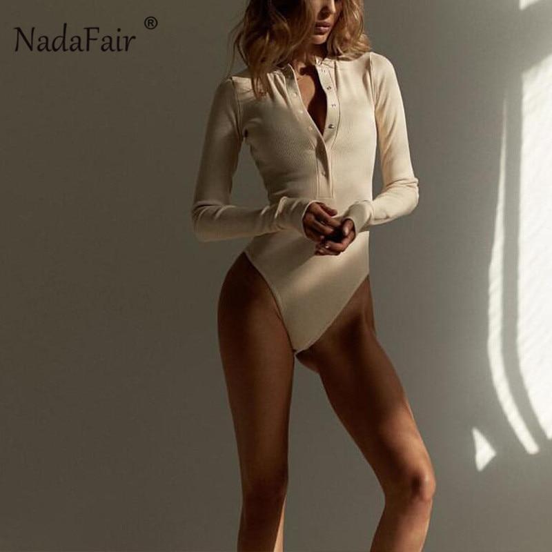 Nadafair White Long Sleeve Bodysuit Women Streetwear Autumn Winter Romper Bodysuit Basis Button Black Ribbed Knitted Body Female