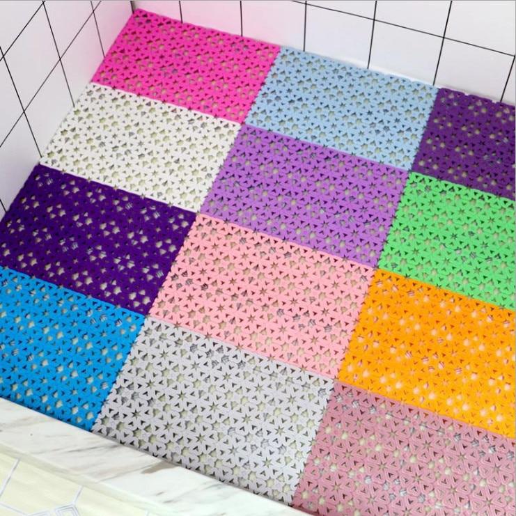 30x 20CM Candy Color PE Massage Skid Bath Bathroom Bedroom Floor Mat Shower Rug Non-slip DIY Anti Slip Toilet Mats