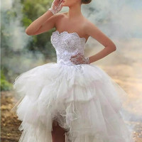 Irregular Strapless Beaded Tulle Bridal Gown Sexy Above Knee High Low Tiered Arabic Muslim Wedding Dress With Tassels