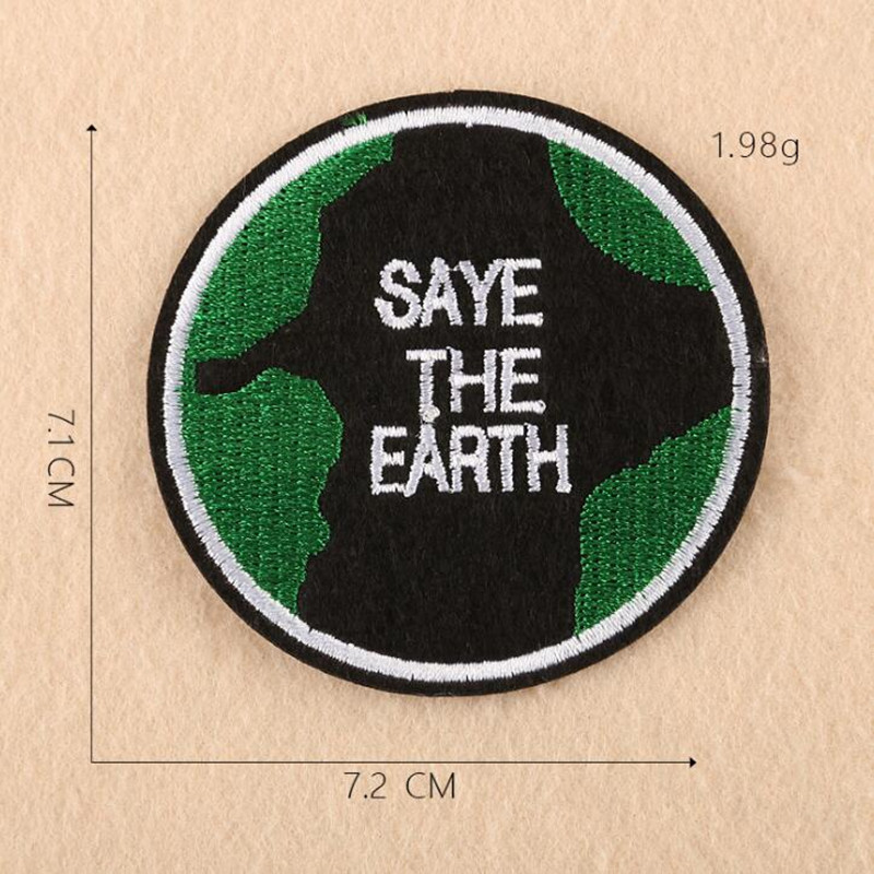 Love Our Peace Earth Embroidered Parches Ropa Iron On Patches For DIY Cloth Patch Fashion Design Motif Applique Badge in Patches from Home Garden