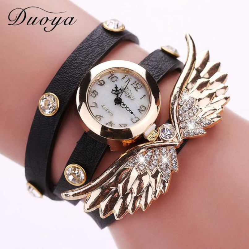 Excellent Quality Duoya Women Vintage Retro Rivet Braided Bracelet Faux Leather Strap Wristwatch Bracelet Dress Watch Clock