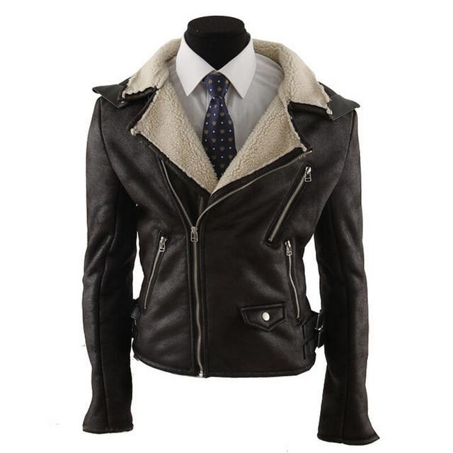 Motorcycle Leather Jacket Men Slim Fit Pu Leather Jacket Fight Pilot Suede Jackets Brown Winter Fleece Mens Moto Pelle Coats