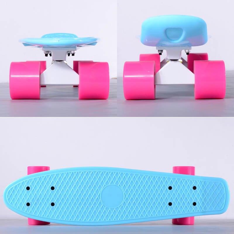 Enfants scooter bleu planche à roulettes longboard complète skate pont simples poissons plaque de bord de la banane 4 patins à roues